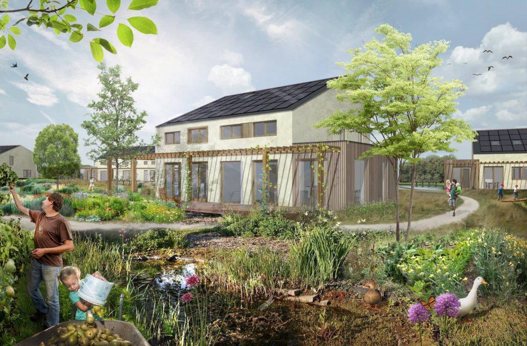 De Woongaard collage huizen en voedselbos