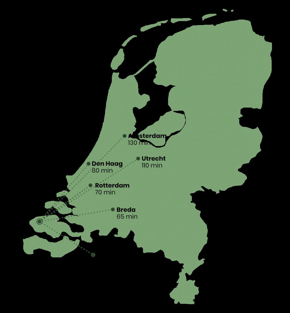 Kaart van nederland met reistijd voor verschillend steden